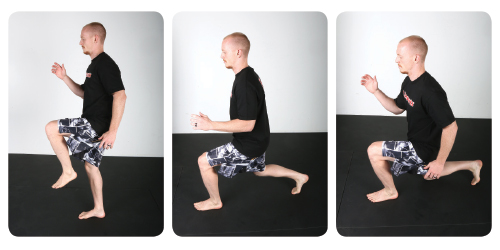 Prescription: Repeat this motion 10 times (20 lunges total) up to two times.