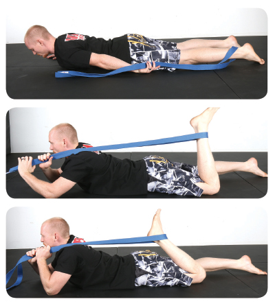 Prescription: Hold this position for 30 seconds and then alternate legs. Perform this two or three times. *NOTE: If you bring your belt over your head to the opposite shoulder you can get an even deeper stretch.